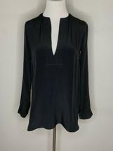 Vince Women's Blouse 100% Silk Split Neck Top Tunic Long Sleeve Black Sz 2 - $34.95