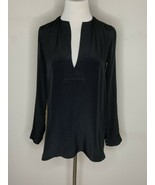 Vince Women's Blouse 100% Silk Split Neck Top Tunic Long Sleeve Black Sz 2 - $34.95