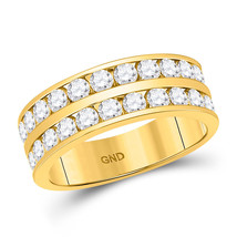 14kt Yellow Gold Mens Round Diamond Double Row Wedding Band Ring 2.00 Cttw - $2,899.00