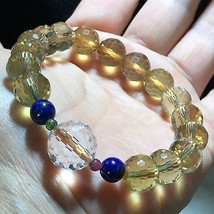 128 Sided Citrine Quartz Natural Crystal & Clear Beads Reiki Healing Bracelet - $9.85