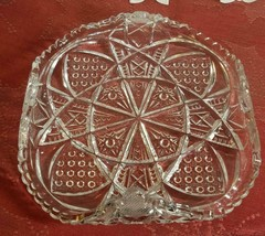 "VINTAGE TURNED UP CORNERS CUT GLASS CANDY DISH 6.5""x6.5""x2"""