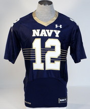 Under Armour Collegiate Navy #12 Blue Short Sleeve Football Jersey Mens NWT - $74.99