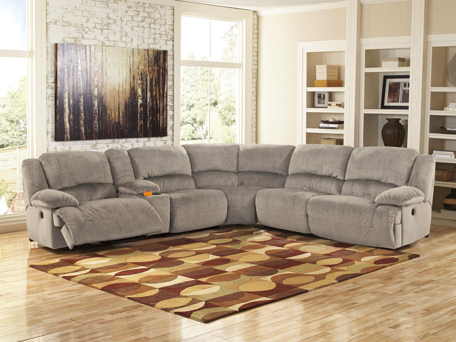 New Walsh 6 Piece Living Room Gray Microfiber Power