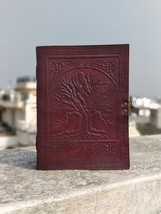Handmade Leather Journal Book of Shadows with Embossed Tree of Life & Br... - $29.00