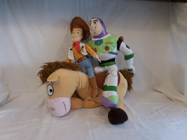"Disney Pixar 17"" Toy Story Woody 19"" Buzz Lightyear + 17"" Bulleye Plush ... - $53.02"