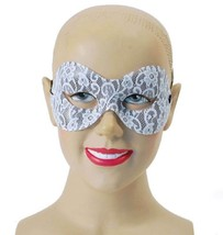White Lace Domino Eye Mask FANCY DRESS MASK, MASQUERADE, MASKED BALL - £4.03 GBP