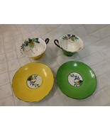 Bone China Tea cups Antique Yellow Green Hand Painted Floral Scalloped H... - $67.54
