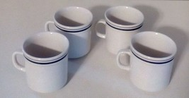 """Newcore Stoneware Coffee Tea Cup Mug White Navy Blue Bands 3 1/2"""" Set Of 4 - $22.44"""
