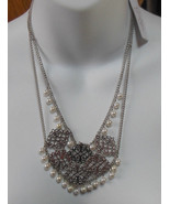 Jessica Simpson Silver-tone Faux Pearl Double Chain Necklace - $21.78