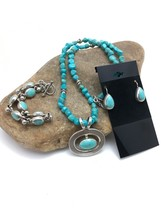 """TAXCO Turquoise Nugget STERLING Silver NECKLACE Earring Bracelet Set 20""""... - $419.91"""