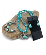 "TAXCO Turquoise Nugget STERLING Silver NECKLACE Earring Bracelet Set 20""... - $419.91"