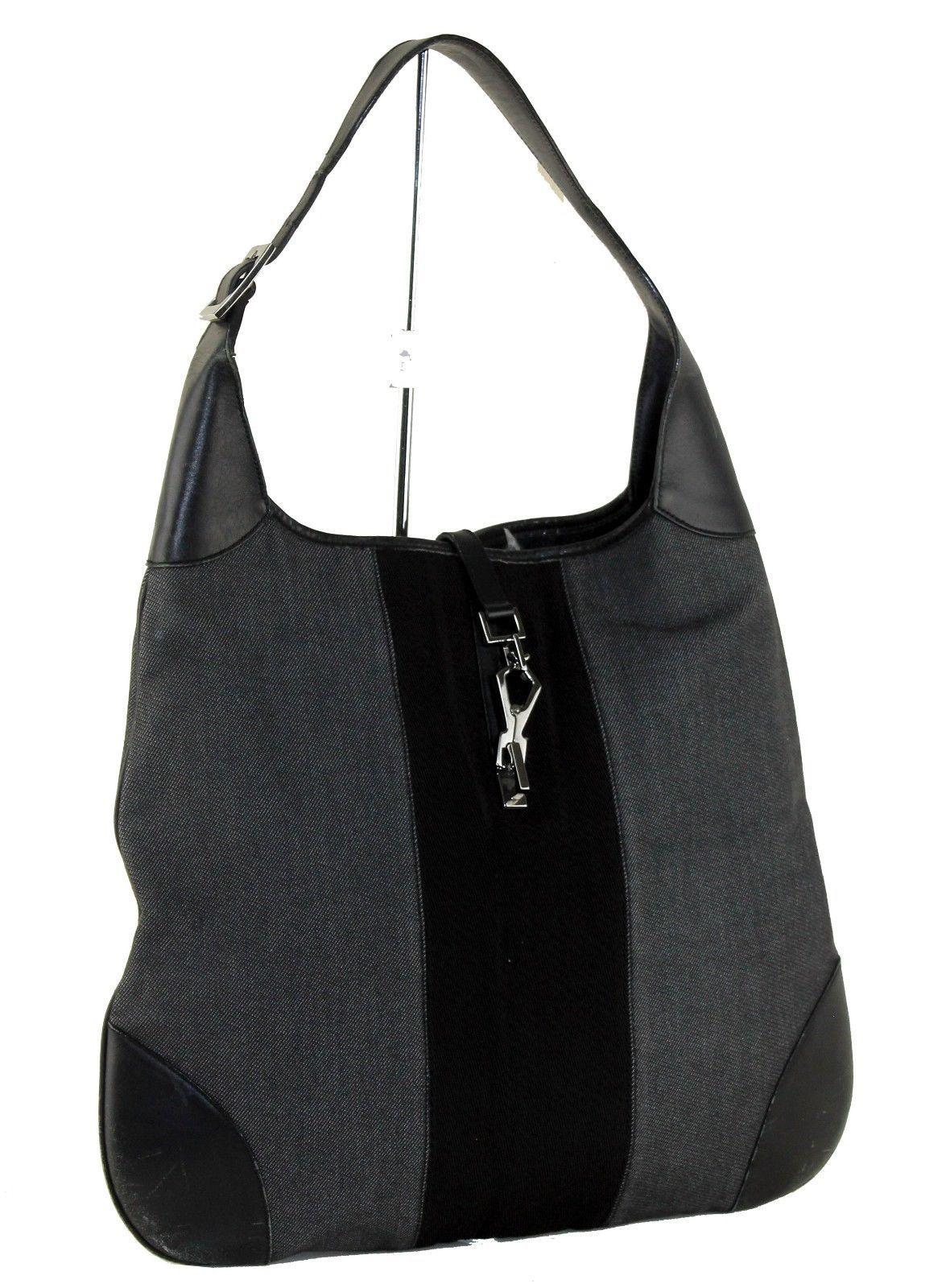 871e6d911ef2 S l1600. S l1600. Previous. Authentic GUCCI Gray Fabric Black Leather  Piston Lock Shoulder Bag Made Italy