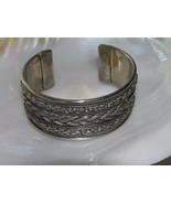 Estate Wide Silvertone with Oxidized Braid Flanked by Faux Chain Cuff Br... - $9.49