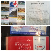 Assorted Collectibles Album Stamp Series Vintage Airplane TWA Ticket Let... - $64.09