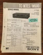 Sony TC-W7ES TC-W600 Cassette Service Manual *Original* - $14.88