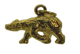 NICE Detailed 3D 24kt Gold plated solid Sterling Silver Grizzly mountain Bear Ch - $16.02