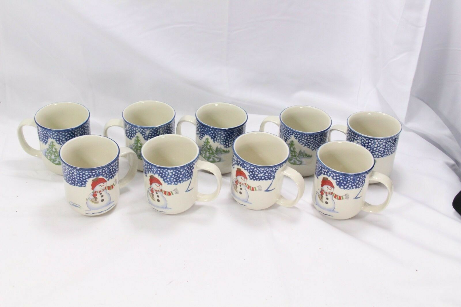 Primary image for Thomson Pottery Snowman Xmas Mugs Lot of 9