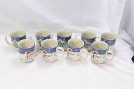 Thomson Pottery Snowman Xmas Mugs Lot of 9 - $42.09