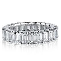 Emerald Cut Diamond Eternity Wedding Band 18k White Gold (3.30 tcw) - £4,132.59 GBP