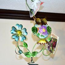 Painted Metal Owl & Blue Glass Bottle Garden Hanging Hummingbird Nectar Feeder image 3