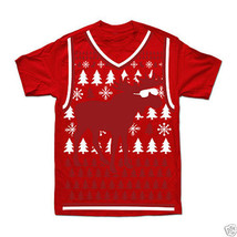 Men's Christmas Reindeer Shades Graphic Tee Size L Pre-Shrunk Cotton New - $9.99