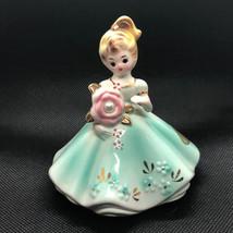 Josef Originals Figurine 1960s Girl Of Month Calendar Japan June Pearl Green Gem - $34.65