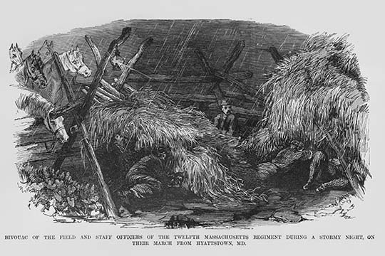 Bivouac of the 12th Massachusetts during a stormy night by Frank Leslie - Art Pr - $19.99 - $179.99