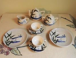 Made in Japan Children's Tea Set Glazed Small Vintage Ceramic Swan Lake ... - $61.38
