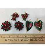 Christmas Earrings Pierced Green Red Leaf & Flower Beaded Berries Lot of... - $14.84