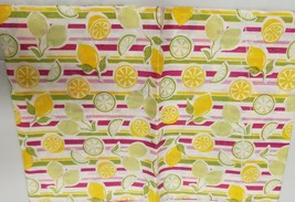 "Thin FLANNEL BACK Vinyl Tablecloth 60"" Round (4-6 pp) CITRUS FRUITS, LEM... - $8.90"