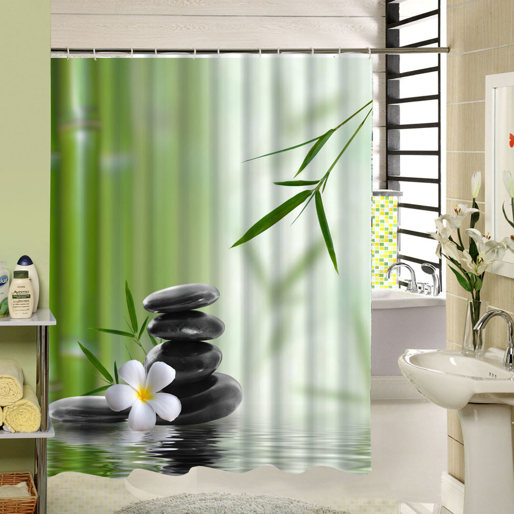 Spa waterproof shower curtain bathroom decor jasmine flower decorations green bamboos fall trees