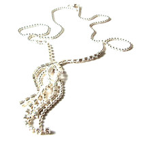 Fashion Pendant Silver coloured metal chain design with diamante 11726 - $15.21