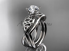 Unique Engagement ring set with moissanite center stone, 14kt white gold celtic  - $1,050.00