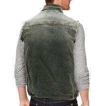 CS Men's Ripped Distressed Button Up Denim Jean Vest Removable Hood Slim Fit image 14
