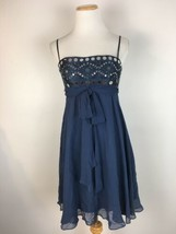BCBG MaxAzria Women's Blue Spaghetti Babydoll Strap Cocktail Dress Size 2 - $24.74