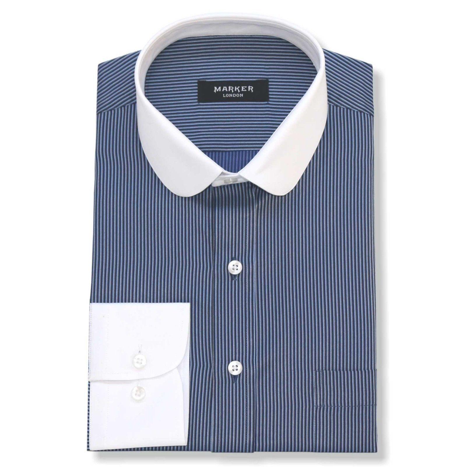 Peaky Blinders Mens Penny collar shirts Purple stripes Round Club Grandad Gents