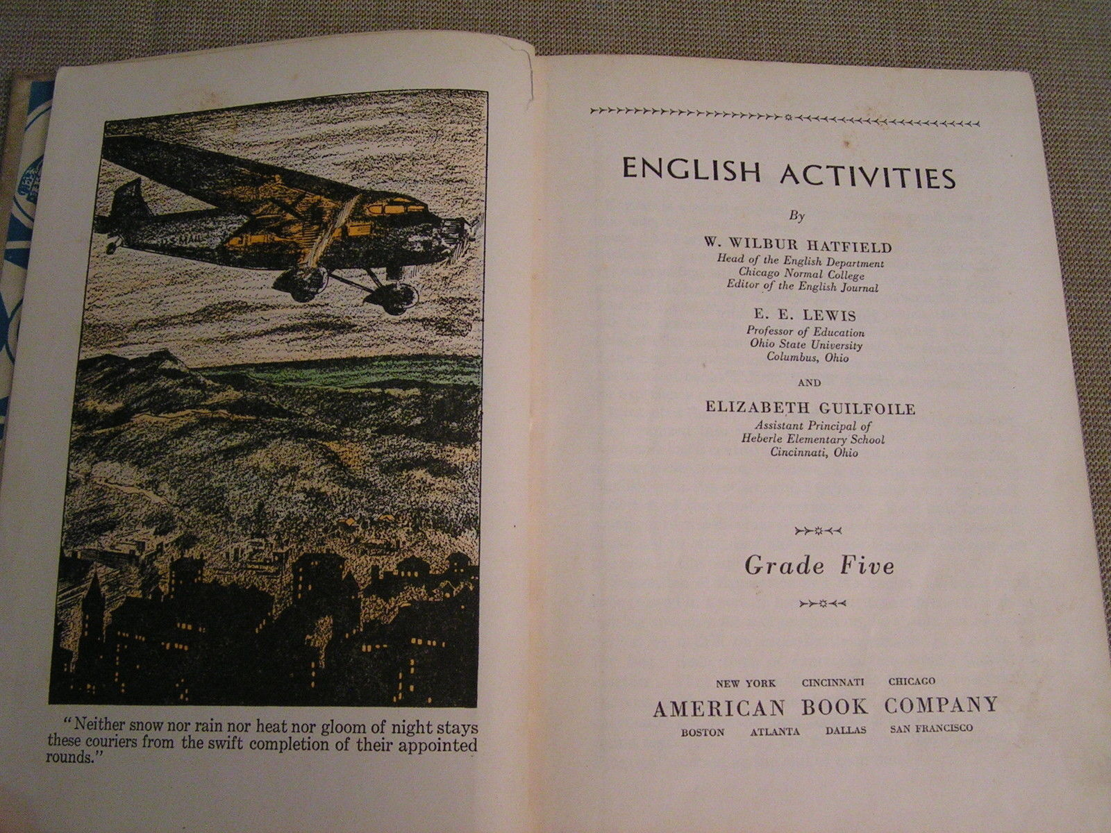 English Activites Grade Five - 1936 Illustrated Elementary School Textbook Book