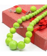 6-14mm Accessories Green Glass Lucky Beads Tower Necklace Chain Earbob E... - $25.48