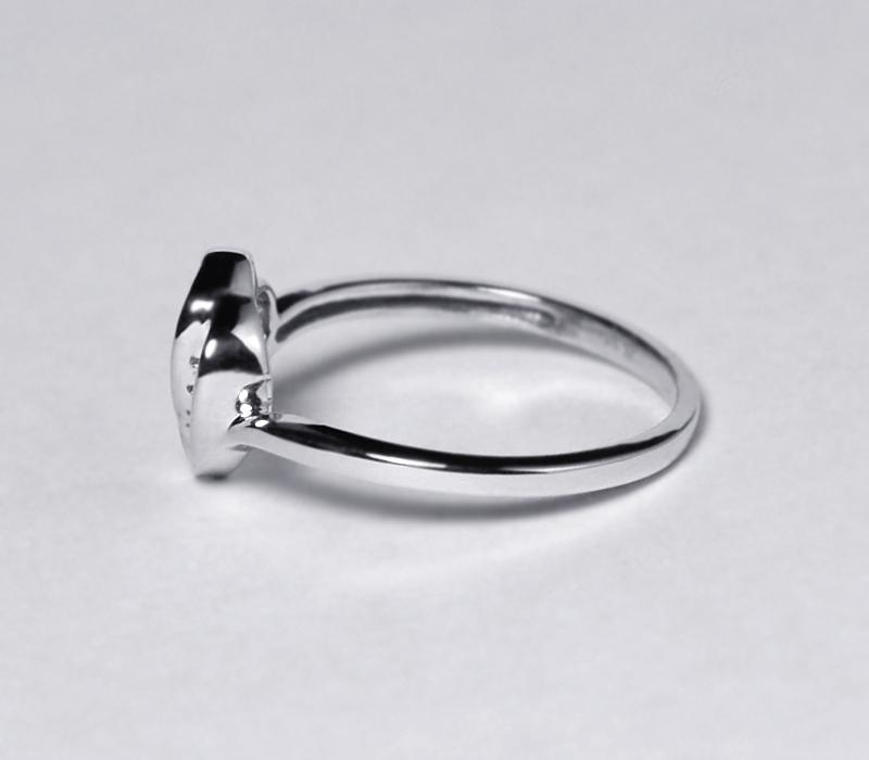 Diamond Open Heart Shape Promise Band Ring Womens 10K White Gold Channel Set