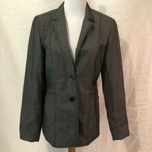 Express Stretch Womens 8 Blazer Dark Gray Lined Two Button Pockets Wool ... - $19.98