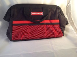 Craftsman Sears Tool Bag Organizer Zipper Top 6 pockets Red Black Canvas... - $14.89