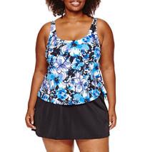 Le Cove Swim Dress Size 16W PLUS Floral Blue Purple Black $96 New - $49.49