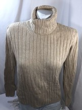 Eddie Bauer Women Sweater Cotton Cowl Neck Tan Linen Long Sleeve Size M Knitted - $22.44