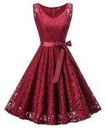 Misvogue Lace Bridesmaid Dresses Short Vintage Floral Lace Dress V Neck ... - $27.76