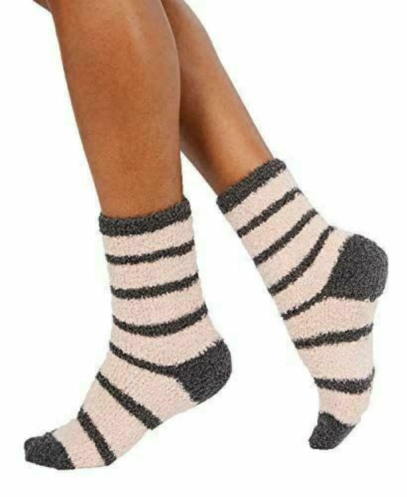Charter Club Metallic Super Soft Plush Socks Pink Grey Glitter Stripe 9-11 NWT