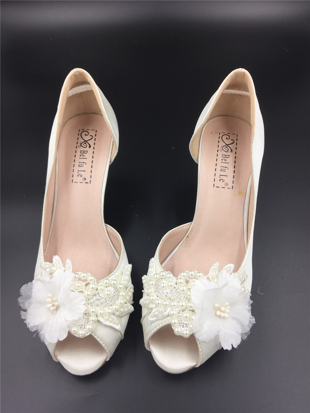 Women Ivory White Lace Pearls Satin Low Heels Wedding Shoes,Bridal Low Heels, used for sale  USA