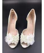 Women Ivory White Lace Pearls Satin Low Heels Wedding Shoes,Bridal Low H... - $48.00