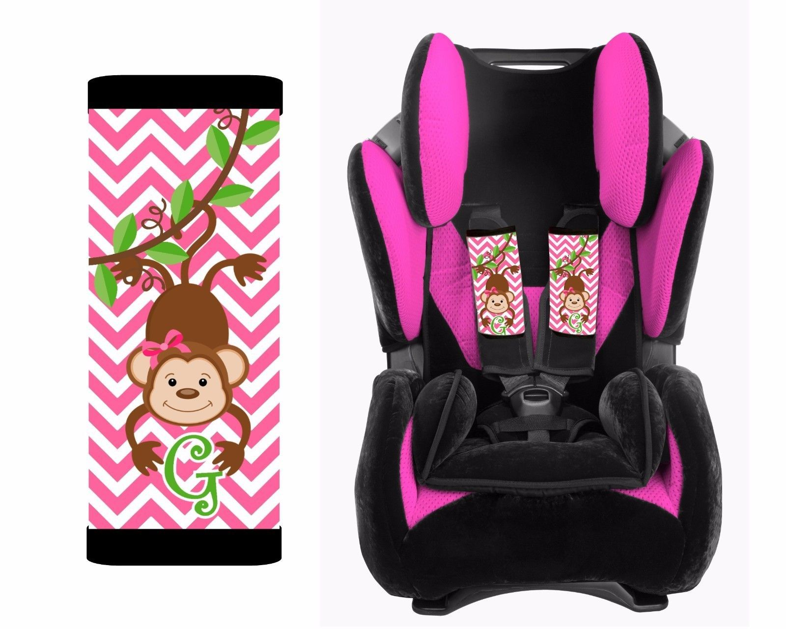 personalized baby toddler car seat strap covers monkey pink chevron car seat accessories. Black Bedroom Furniture Sets. Home Design Ideas