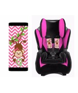 PERSONALIZED BABY TODDLER CAR SEAT STRAP COVERS MONKEY PINK CHEVRON - $14.68