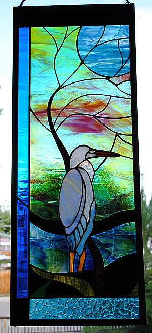 Blue Heron with Moonlit Tree Leaded Stained Glass Window Colorado art